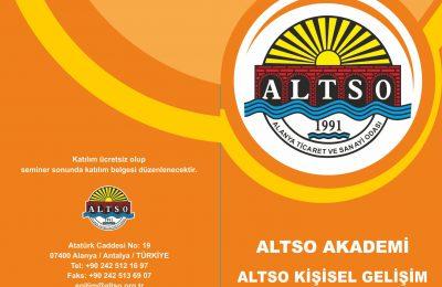 ALTSO AKADEMİ'NİN 2019 YILI 2. DÖNEM KİŞİSEL GELİŞİM SEMİNER PROGRAMI BELLİ OLDU